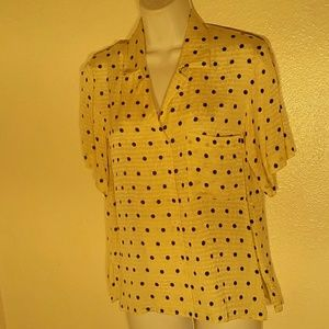 Anne Klein ll Pure Silk Dotted Blouse. 4